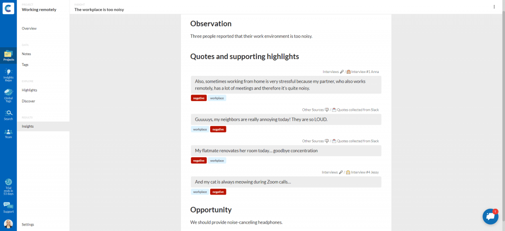 Screenshot of consider.ly showing an insight