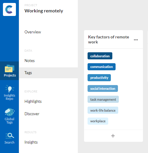 Screenshot of consider.ly showing the tag categories